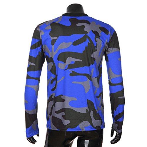 hombre de calidad Azul alta sudaderas hombre con de 1 larga Tops Camisa músculo de para de de zarupeng verano 2018 de manga bolsillo camuflaje capucha blusa qU7ZAa