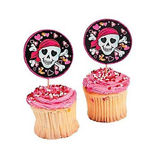 Pink Pirate Girl Food and Cupcake Picks - 25 pcs