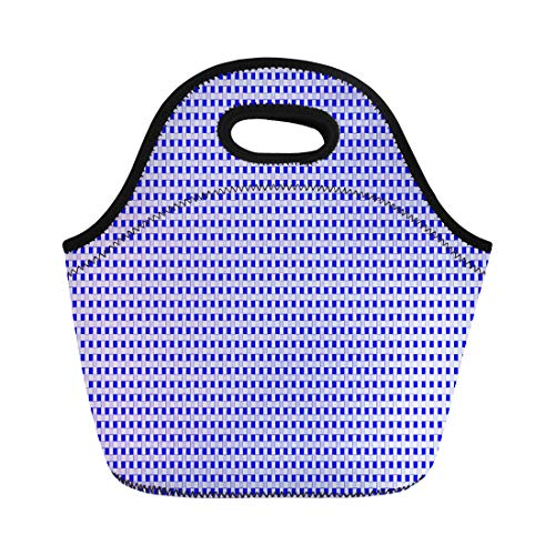(Semtomn Lunch Tote Bag Braiding Stripes Creates D Basket Weave Pattern Royal Blue Reusable Neoprene Insulated Thermal Outdoor Picnic Lunchbox for Men Women)