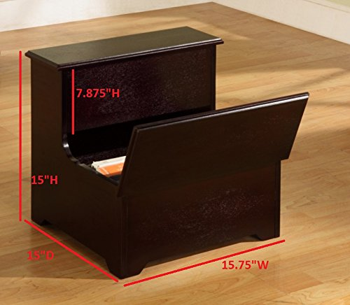 King's Brand Cherry Finish Wood Bedroom Bed Storage Step Stool