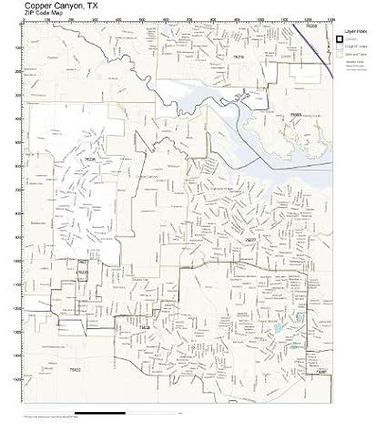 Amazon.com: ZIP Code Wall Map of Copper Canyon, TX ZIP Code Map Not ...