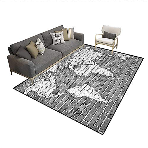 - Carpet,World Map on Old Brick Wall Construction Grunge Antique Stained Abstract,Indoor Outdoor Rug,Pale Grey WhiteSize:6'x8'