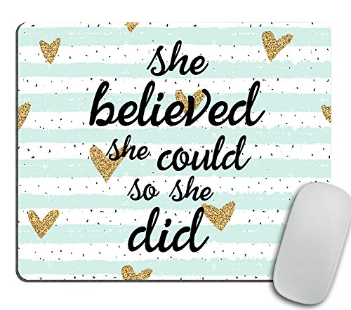 Quote Mousepad, She Could Mouse Pad, Watercolor Mouse Mat, Custom Mousepad, Heart Mousepad, Inspirational Quote Mousepad Motivational Quote