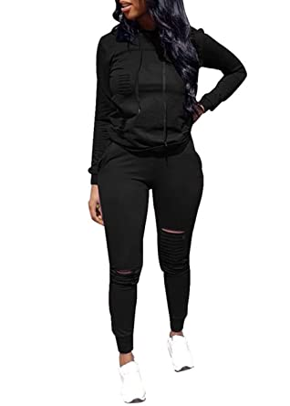 Women Casual Ripped Hole Pullover Hoodie Sweatpants 2 Piece Sport Jumpsuits  Outfits Set (Black 699daf54a