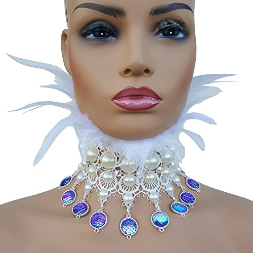 pinda Holographic Pearl Mermaid Costumes Burning Man Festival Gear Feather Choker Necklace Collar (White)