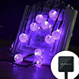 Outdoor Solar String Light garland 30LED 20FT Fairy String Lights Bubble Crystal Ball Lights Decorative Lighting for Indoor Garden Home Patio Lawn Party Holiday Ooutdoor Decor (purple)