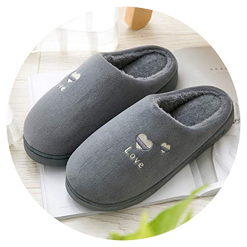 Winter Cotton Slippers Female Household Indoor Antiskid on unginned Cotton Wool Slippers Male Couples Thick Bottom Warm,Deep Gray,9 ()
