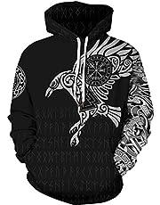 GLUDEAR Men's Vikings Tattoo Norse Mythology 3D Print Hoodie Pullover Sweatshirt S-5XL