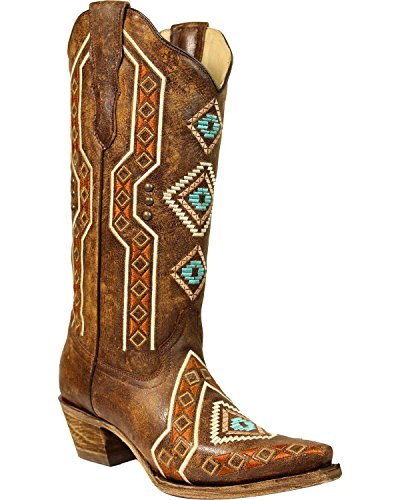 Corral Womens Aztec Ricamato Cowgirl Boot Snip Toe Brown 8 M