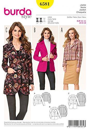 Burda Ladies Sewing Pattern 6581 Blazer Jackets with Lapels