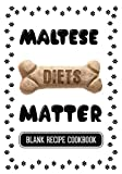 Maltese Diets Matter: Raw Food Diet Recipes For Dogs, Blank Recipe Cookbook, 7 x 10, 100 Blank Recipe Pages