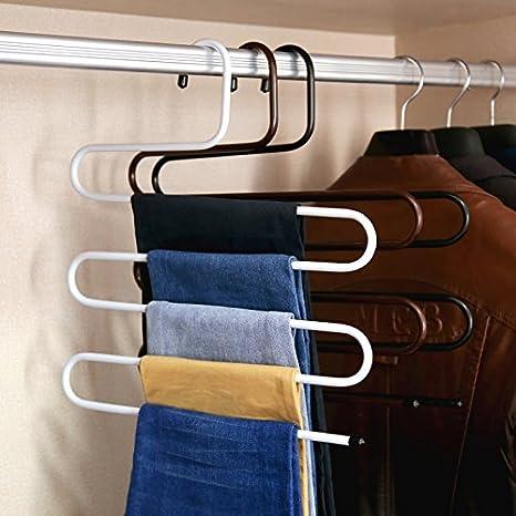 tourwin 1 pcs multiuso Formas curvas ropa de 5 capas de rack secado toallas de soporte de cinturón pantalones pantalones percha: Amazon.es: Hogar