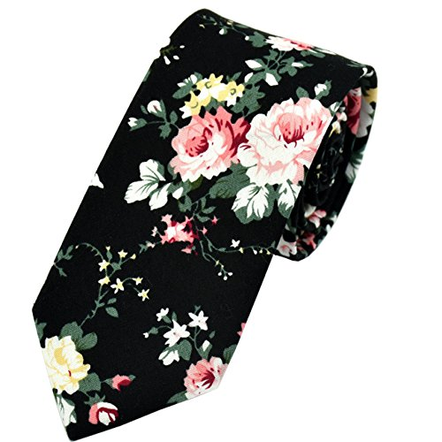 Men's Tie Floral Fashion Neck Ties Causal Formal Occasion Wedding Business (Black)