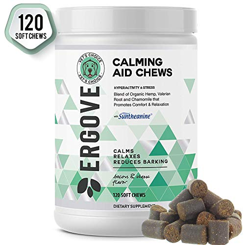 ERGOVE New Developed Formula Calming Aid Chews for Dogs - Anti-Anxiety & Stress Relief with Suntheanine - Vet Developed Breakthrough Formula Promotes Comfort & Relaxation - Made in USA - 120 Chews