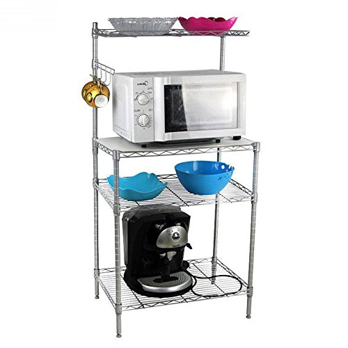 4 Tiers Baker's Rack Kitchen Cart Baking Accessories Utility Spice Microwave Oven Storage Stand Workstation Shelf Cabinet w/Hook Multifunctional Silver| 1.2m Height Adjustable Strong Chrome Finishing ()