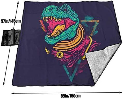 Singledog Coperta da Picnic Displate Poster Space Rex Dinosaurs Stuoia da Spiaggia Portatile Impermeabile da Esterno per 145X150 cm