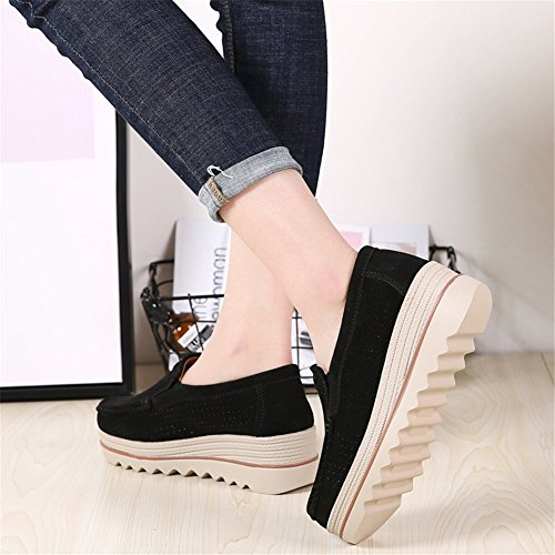 Low Top Hollow Sanyes Suede Platform Women Moccasins On Comfort Loafers Black Wide Slip Wedge Shoes qYqzw6rnv