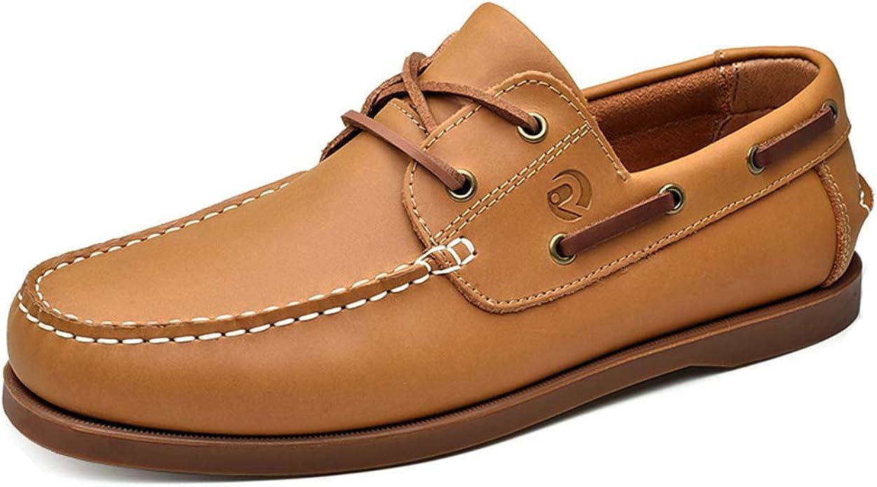 UPIShi Men's Leather Boat Shoe Casual