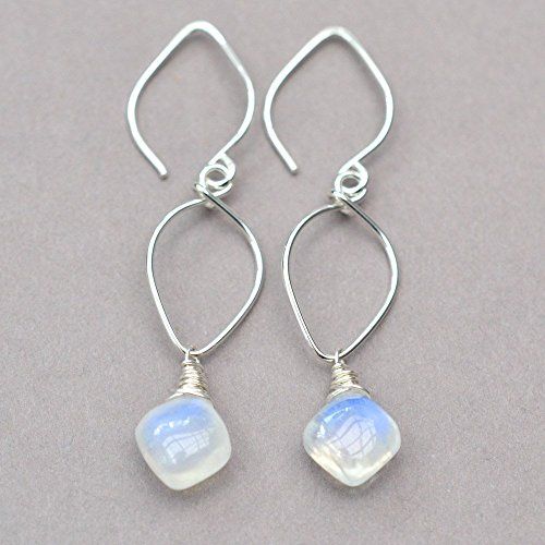 Rainbow moonstone earrings sterling silver lotus loop June birthstone
