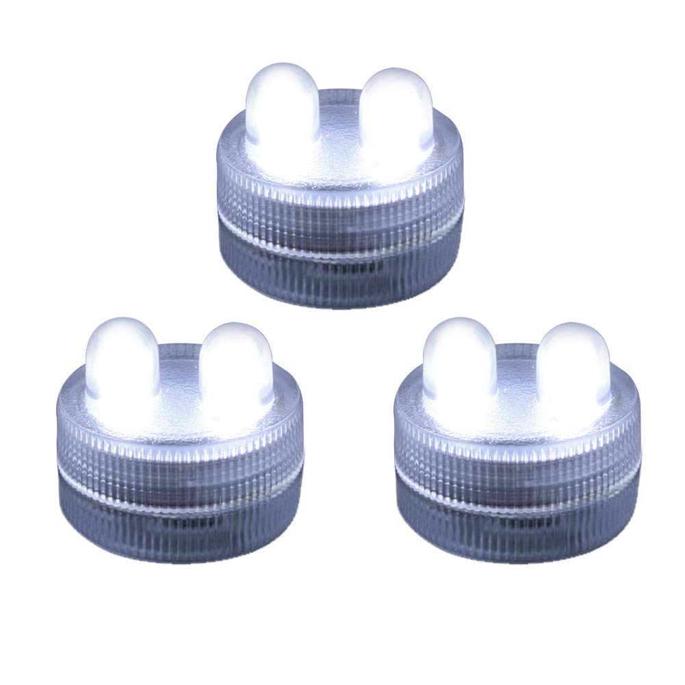 Homemory 12PCS Waterproof Submersible LED Tea Lights, Battery Operated Underwater Double LED Lights Flameless LED Tea Light White for Wedding, Centerpiece, Party, Pool, Fountain