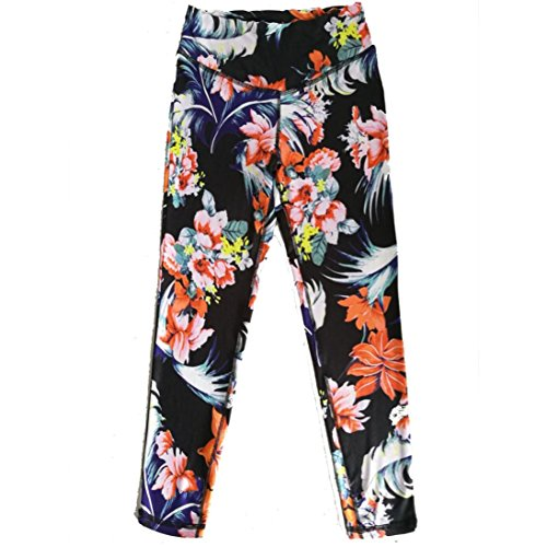 BSGSH Women's Floral Printed Active Workout Capri Leggings Fitted Stretch Yoga Pants Tights