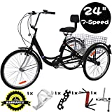 VANELL 24 Inch Tricycle 7 Speed Trike Cruise Bike - Adult 3 Wheeled Bicycle - with Large Size Basket and Tools - Tricycle for Adult Women Men for Shopping Exercise Recreation (Midnight Black)