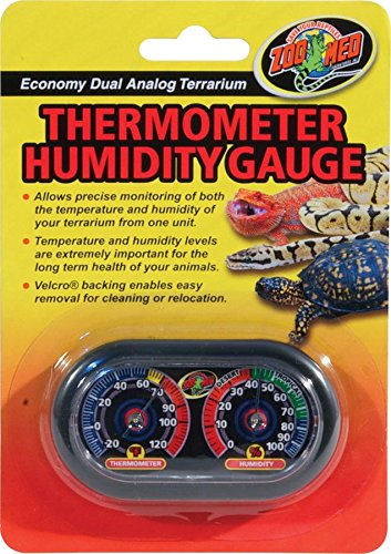 Habitat Thermometer - Zoo Med Economy Analog Dual Thermometer and Humidity Gauge, 6 x 4