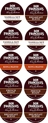 10 Cup Don Francisco's Sampler! 2.0 compatible! KONA, Vanilla Nut & French Roast