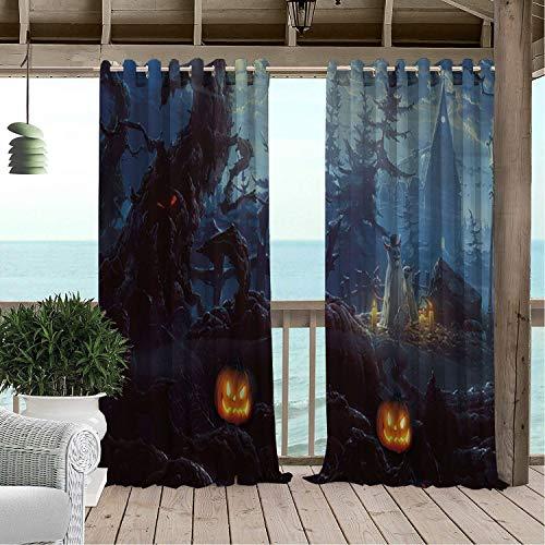 Linhomedecor Gazebo Waterproof Curtains Halloween Scary Pumpk Castle Porch Grommets Cabana Curtain 72 by 108 inch -