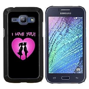 LECELL--Funda protectora / Cubierta / Piel For Samsung Galaxy J1 J100 -- Te amo corazón rosado --