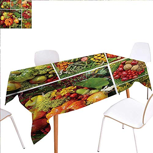familytaste Harvest Washable Tablecloth Photograph of Products from Various Gardens and Fields Seasonal Foods Apple Walnuts Waterproof Tablecloths 50