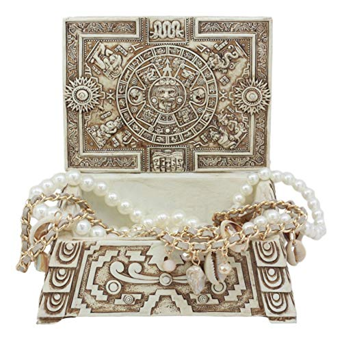(Ebros Gift Mexica Aztec Maya Solar Sun Gods and Goddesses Mesoamerican Calendar Jewelry Treasure Trinket Jewelry Box Figurine )