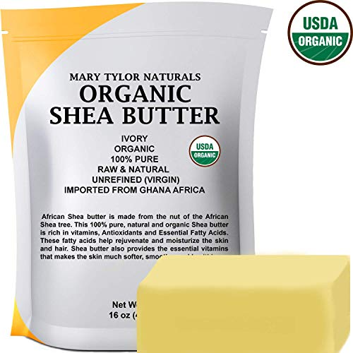 Certified Organic Shea butter 1 lb Raw Unrefined Shea butter Ivory From Ghana Africa, Amazing Skin Nourishment, Great for Eczema, Stretch Marks and Body by Mary Tylor Naturals