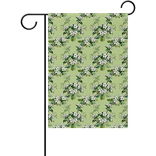 - Staroutah Pattern with Apple Blossom Polyester Garden Flag Outdoor Flag Home Party Garden Decor 12 x 18 Inch