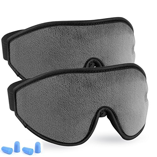 Mask - LYOOLY 2 Pack Upgraded 3D Contoured Sleeping Masks for Men Women - 100% Blackout Eye Shades Blindfold Eye Cover for Complete Darkness and Free Movement of The Eyes (Gray) ()