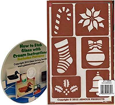 Christmas Glass Etching Stencils with Candy Cane, Stocking, Holly Leaf, Poinsettia Flower, Ornament, Bell + How to Etch CD