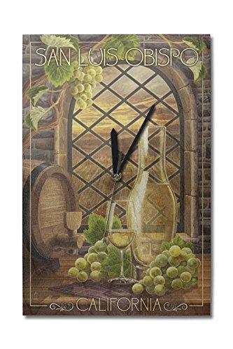(Lantern Press San Luis Obispo, California - Chardonnay (10x15 Wood Wall Clock, Decor Ready to Hang))