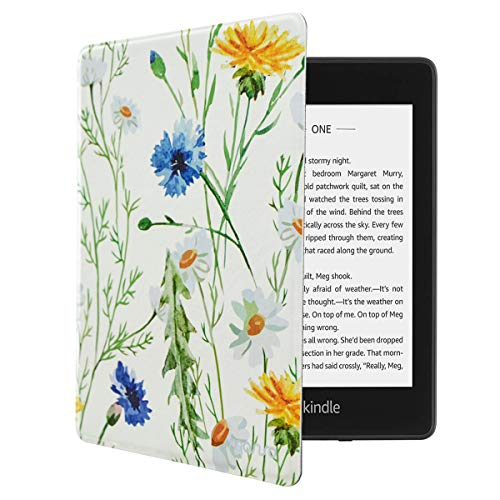 MOSISO Compatible with 2019 All-New Kindle Case (10th Generation), Pattern PU Leather Smart E-Reader Shell Protective Tablet Cover with Auto-Wake/Sleep Function and Magnetic Closure, White Base Daisy