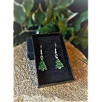 Handmade Christmas Tree Silver Plate & Enamel Earrings (Pair)