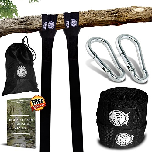 KingStrap Tree Swing Strap Hanging KIT - Two 4FT Straps, Hold 2500 lbs, Two Heavy Duty Carabiner, Free Bonus EBOOK, Easy Installation, 100% Waterproof, Carry Bag Included, Perfect Way to Swing