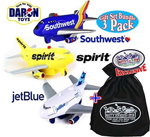 Daron Jet Blue  Spirit   Southwest Airlines Lights   Sounds Pull Back Planes Gift Set Bundle With Exclusive  Mattys Toy Stop  Storage Bag   3 Pack