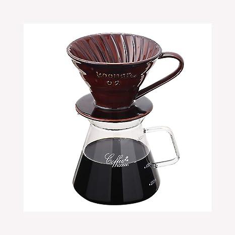 Cafetera De Vidrio Set de Ceramica Punch Cafetera V60 Taza del Filtro de cerámica Taza de Filtro de café Fina Boca Tipo de Goteo Girar la Zanja Cafetera 2 en 1: Amazon.es: