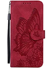Miagon Wallet Case for iPhone 12,Flip PU Leather Case with Card Slots and Stand Feature Retro Butterfly Design Protective Cover,Red