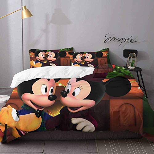 Bed Sheets Set Mickey & Minnie Mouse Bed Sheets and Comforter Set Bedding 3 Piece Duvet Cover Set Oversized King