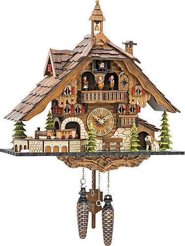 Palace Clock - Quartz Cuckoo Clock Black Forest House with Moving Train, with Music EN 48110 QMT