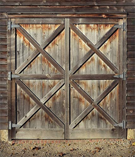 Leowefowa 10x12FT Vinyl Barn Door Photography Backdrop Rustic Barnyard Western Wooden Door Background West Cowboys Theme Party Backdrop Boys Men Adults Portrait Photo Props Event Party Decorations ()