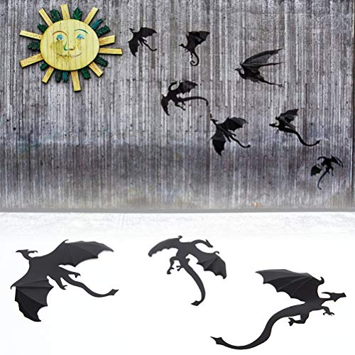 s - Dinosaurs Boys Thrones Inspired Dragon Wall Art Silhouettes 3d 7pcs Lot Halloween Rooms Fun Life - Playroom Dance Alphabet Dots Butterfly Office Inspirational Horse Airplanes Tuli ()