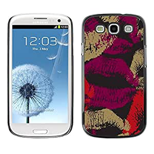 X-ray Impreso colorido protector duro espalda Funda piel de Shell para SAMSUNG Galaxy S3 III / i9300 / i747 - Love Lips Purple Black Red Dark