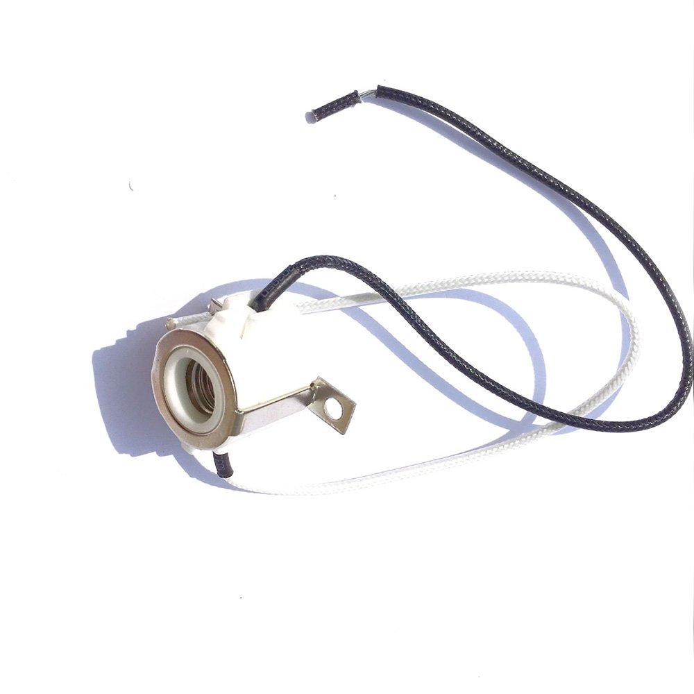 Fineled E11 Mini Candelabra Screw Ceramic Lampholder Socket Wiring A Metal Lamp Holder Porcelain Base With 8 Inch Lead Wires For Light Bulbs 3 Pack