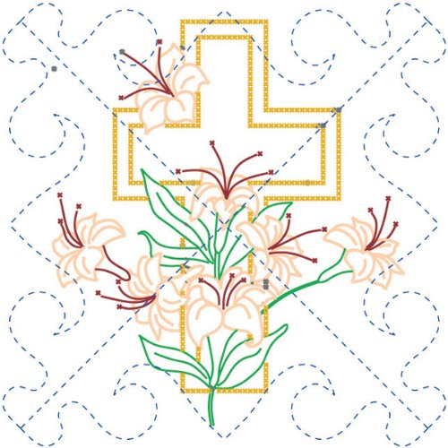 Fairway 96101 Stamped Quilt Block, 18-Inch x 18-Inch, Cross and Lilies, 6-Pack